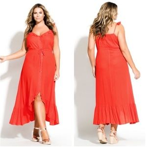 NWT City Chic red bohemian ruffle high low dress